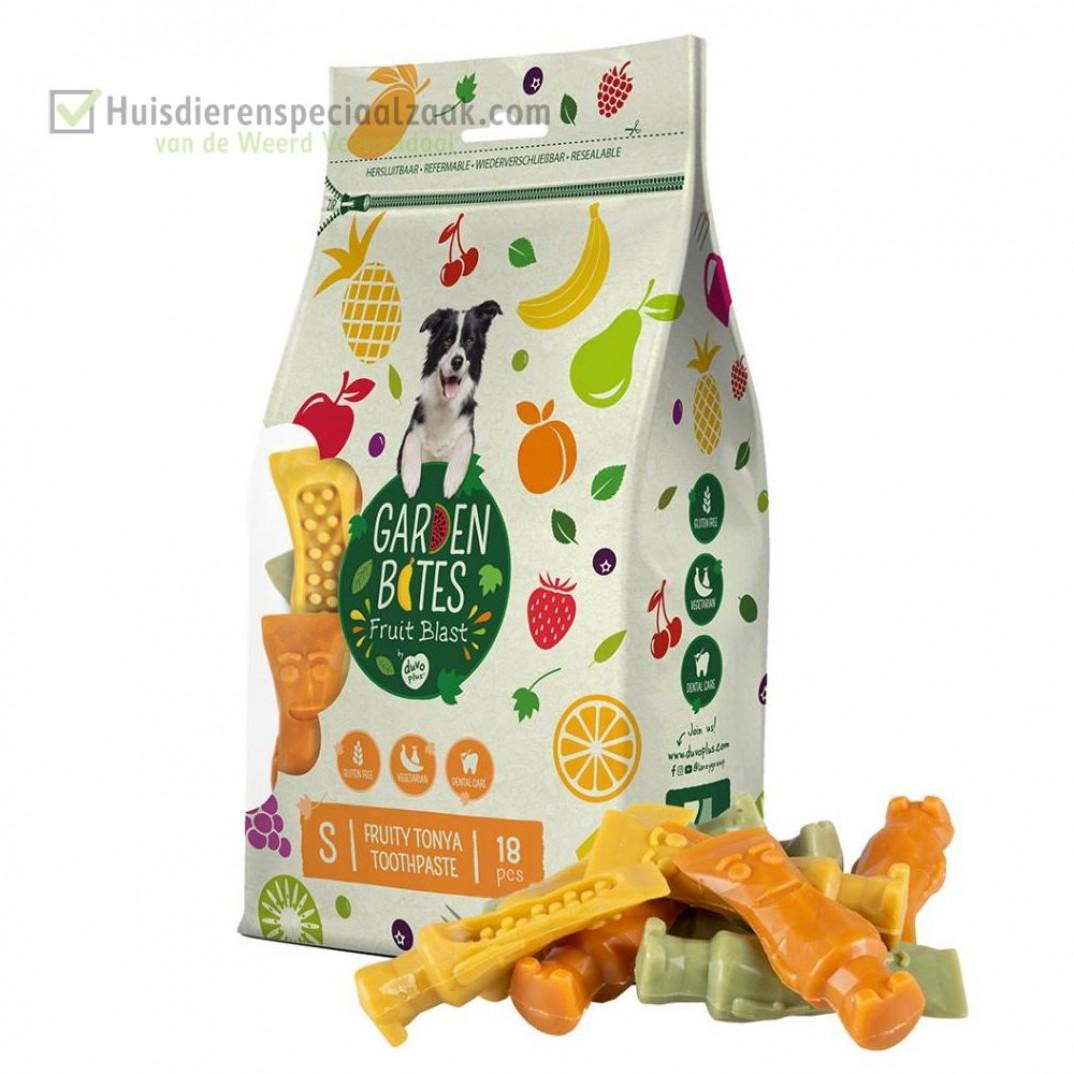 Garden Bites fruity toothpaste klein in een zak van 18 stuk