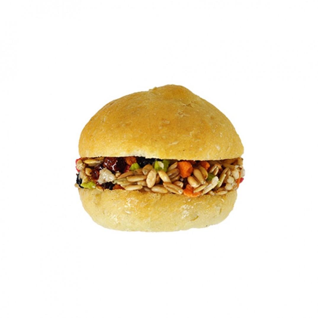 Groentenhamburger broodje. Lekkere harde snack voor knaagdieren en konijn. Zijn los verpakt. Ca 40 gram.