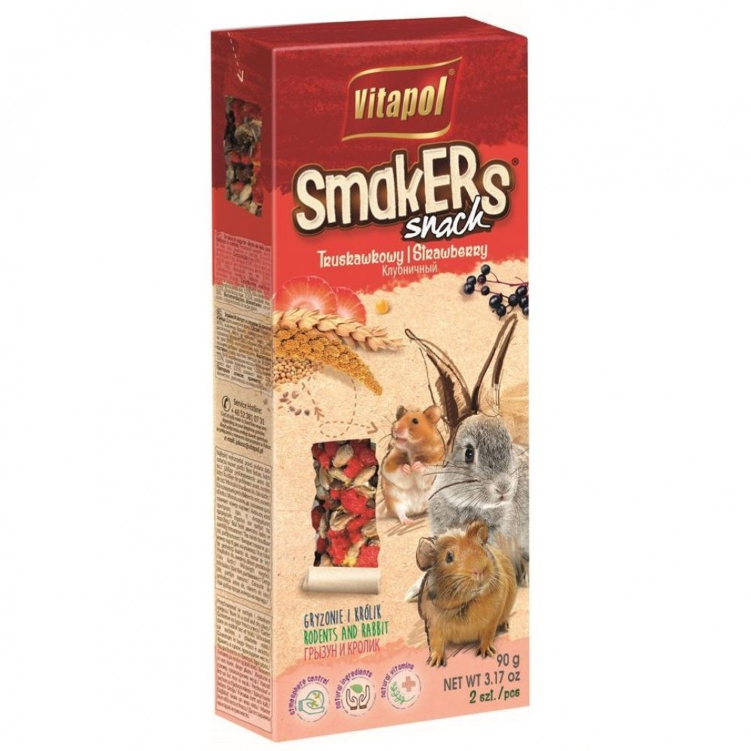 Vitapol smakers, stok voor knaagdieren aardbei 90 gram